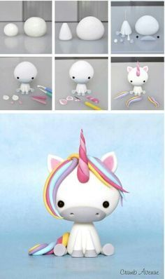 Clay unicorn but could use to make a fondant unicorn Baby Unicorn Tutorial More Baby Unicorn Tutorial - omg this is the cutest thing ever! photo tutorial - make a rainbow unicorn from fimo / polymer clay / flower paste / icing step by step guide for sitti Polymer Clay Projects, Polymer Clay Creations, Diy Clay, Fondant Tutorial, Cake Topper Tutorial, Fondant Animals Tutorial, Clay Figures, Unicorn Birthday Parties, Cake Birthday