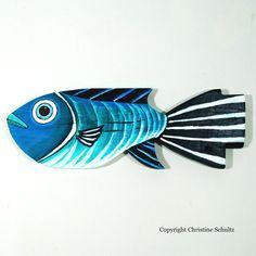 Dipinta di verde in legno pesci Decor e blu Folk Art