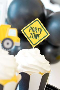 Take a look at this awesome construction-themed birthday party! The cupcakes are so much fun! See more party ideas and share yours at CatchMyParty.com