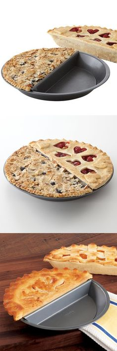 Split decision pie pan // No more arguments over who has the bigger half of the pie! Haha! I NEED this divided pie pan - and a cake pan like this too. #product_design