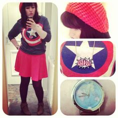 What I Wore #2 - Primark Captain America jumper, New Look coral skater skirt, ASOS globe watch, Primark BANG necklace, H+M knit cap, New Look shoeboots. #fashion #style #fbloggers #bbloggers #whatiwore (Full Blog on The Bunny Beautiful)