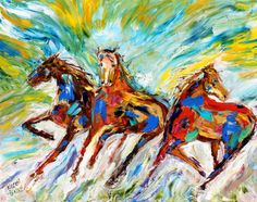 Wild Horses original oil painting abstract by Karensfineart