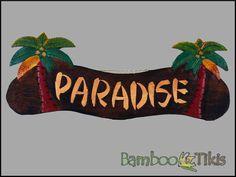 Palm Tree Tiki Bar Paradise Sign