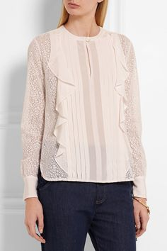 White devoré-chiffon  Button-fastening at front 100% polyester Dry clean
