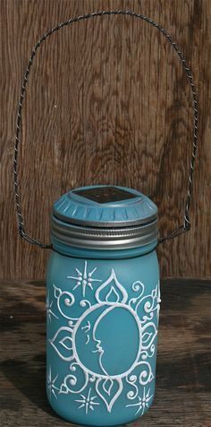 Hanging Mason Jar Solar Light Lantern tinted a by LucentJane, $30.00