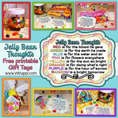 Jelly Bean Thoughts: Jelly Bean facts and some cute printables with what the colors of jelly beans stand for in relation to Easter. Put them in your kids Easter baskets! Theses are great to use as a teaching tool for kids or to gift to others!