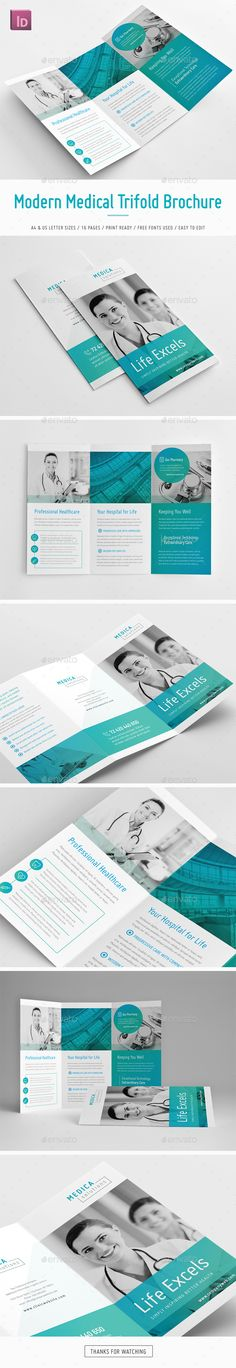 Modern Medical Trifold #Brochure - Brochures Print Templates Download here:  https://graphicriver.net/item/modern-medical-trifold-brochure/19597692?ref=alena994