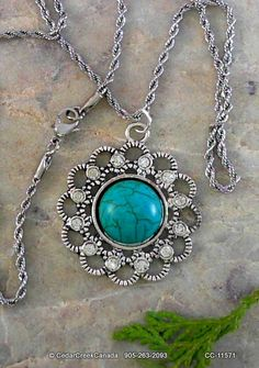 Turquoise Gemstone Pendant in Silver Plate Setting                  CC-11571