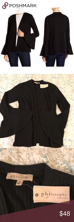 Philosophy Black Bell Sleeve Knit Cardigan Sweater Cute and cozy Philosophy cardigan sweater! Lovely ribbed knit black sweater with bell sleeve openings. Brand new with tags, never worn! Philosophy Sweaters Cardigans