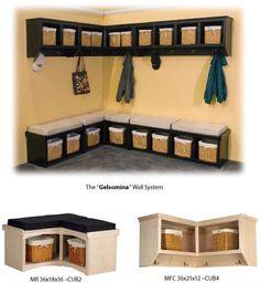 coat rack bench | Corner Cubby Bench / Coat Rack | Mudroom - Design Ideas