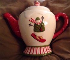 Jo-Ann-Fabrics-Debbie-Mumm-Holiday-SNOWMAN-Christmas-Teapot-2007
