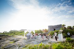 Love this wedding ceremony in front of mayan ruins at Occidental Grand Xcaret.