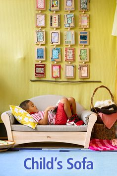 Here's a cozy, child sized sofa for a concentrated session in the reading corner. Tap through to see the options and details. Classroom Layout, Classroom Setting, Kindergarten Classroom, Classroom Ideas, Preschool Reading Corner, Toddler Armchair, Reggio Inspired Classrooms, Book Corners, Soft Seating
