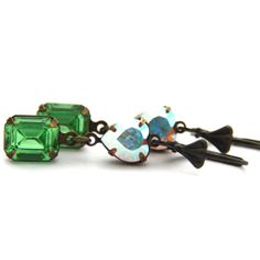Peridot Green Swarovski Crystal Earrings Antique Brass Long Earrings A... JewelryByMagda $41.