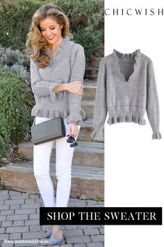 Free Shipping & Easy Return. Up to 30% Off. Knit a Chance V-Neck Frilling Sweater in Grey. @tecuentomistrucos  #womenfashion #clothing #sweater #knitsweater #sweaters #warm #soft #datingoutfit #partyoutfit #falloutfit #winteroufit Fall Outfits, Cute Outfits, Business Casual Outfits, Pulls, Pattern Fashion, Diy Clothes, Models, Beautiful Outfits, Blouses For Women