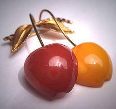 Antique Butterscotch Amber Pin Cherry Design Art Deco
