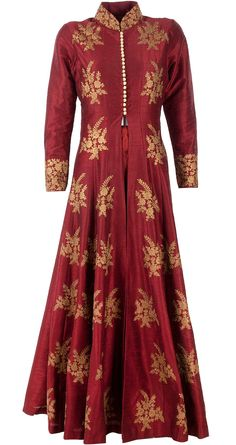 SVA Red and blue cape gown anarkali