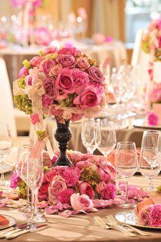 結婚式・披露宴のテーブル装花(ピンク系) - NAVER まとめ