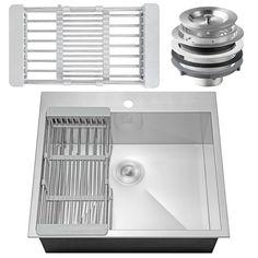 "25"" x 22"" x 9"" Stainless Steel Top Mount Kitchen Sink Single Basin w/ Tray Kit | eBay"