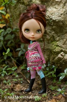 Peaceful Sunset. Knitted Dress With Striped Tee Top, Thigh High Socks And Peace Choker For Blythe by SugarMountainArt on Etsy https://www.etsy.com/listing/466600235/peaceful-sunset-knitted-dress-with