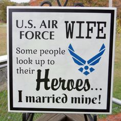 AIR FORCE WIFE Plaque - Military Wife - Married my Hero - Hero Plaque - Enlisted Spouse - Airmans Wife - Soldiers Wife #bestofEtsy #etsyretwt
