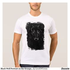 Black Wolf Portrait on the Grunge BG T-Shirt