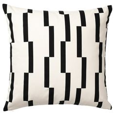 kussens banking IKEA - KINNEN, Cushion cover, white, black, Cotton is a soft and easy-care natural material that you can machine wash. The zipper makes the cover easy to remove. Sofa Pillow Covers, Cushions On Sofa, Cushion Covers, Black And White Cushions, Black And White Theme, Black White, White Pillows, Dark Grey, White Gold