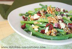 Green Bean Salad with Cranberries, Walnuts and Feta