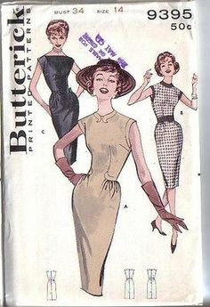 Vintage 60s Butterick Sewing Pattern 9395 Wiggle Sheath Dress Size 14 B34 Uncut | eBay