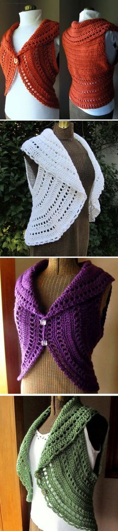 Must try a circle vest/shrug. Keep meaning to.... --Pia (Crochet Ladies Circle Vest or Shrug Pattern) *