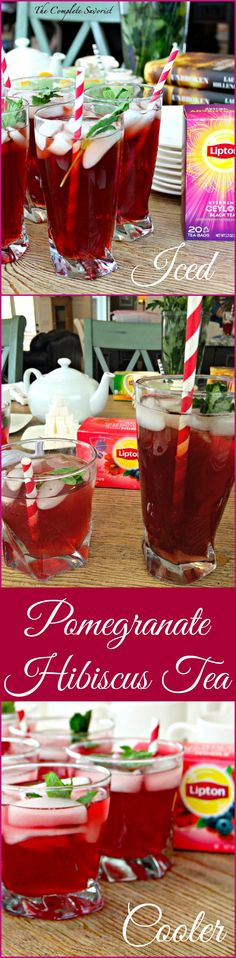Pomegranate Hibiscus Tea ~ Two drinks of Berry Hibiscus Tea, Ceylon Black, Pomegranate Juice and rum for the over 21 set ~ The Complete Savorist