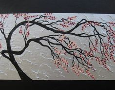 cherry blossom tree trees large abstract art black gray grey silver pink Japanese look painting panels wall paintings on Etsy, $125.77