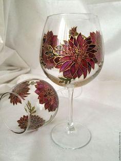 """Бокалы, стаканы ручной работы. Ярмарка Мастеров - ручная работа. Купить Бокал для вина """"Георгины"""" большой. Handmade. Подарок, хризантемы, для вина"""