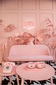 designbygemini paints palm trees in millennial pink at milan design week - Colours - New Color Tout Rose, Pink Home Decor, Pink Photo, Milan Design, Pink Room, Pink Walls, Pastel Pink, Living Room Designs, Palm Trees