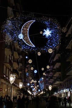 """Christmas in Italy / Photo taken on November 2012 shows Christmas lights illuminating the streets of downtown Salerno, southern Italy, part of an exhibition called """"Artist' lights"""" created by several Italian artists. Christmas In Italy, Winter Christmas, Christmas Time, Holiday Lights, Christmas Lights, Christmas Decorations, Wallpaper Ramadhan, Ramadan Cards, Ramadan Mubarak"""