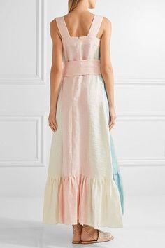 Peter Pilotto - Embroidered Paneled Linen Maxi Dress - Pastel pink - UK