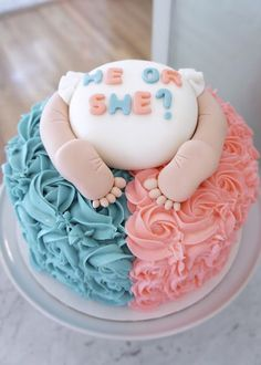 10 adorable gender reveal party cakes halloween pregnancy announcement onesie an october jack o lantern personalized baby reveal parents grandparents aunt uncle trick or treat Gateau Baby Shower, Deco Baby Shower, Shower Bebe, Baby Shower Cakes, Baby Shower Cake Designs, Gender Reveal Box, Baby Gender Reveal Party, Gender Party, Baby Reveal Cakes