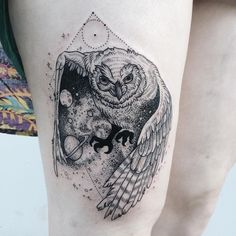 dotwork owl hip tattoo