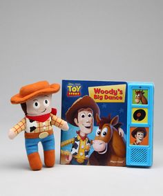 Go on a Toy Story adventure with this interactive board book set that includes a soft plush Woody toy perfect for cuddling. The book's three sound buttons let even the youngest of listeners participate in the tale. Includes book and plush toyRequires three AAA batteries (included)Recommended for ages 18 months a...