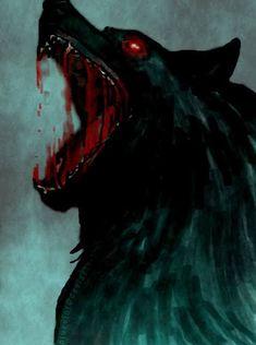 Fenrir the wolf of Norse mythology and vikings learn this - Anime Wolf Dark Fantasy Art, Dark Art, Fantasy Artwork, Anime Wolf, Fenrir Tattoo, Art Noir, Beast, Werewolf Art, Vampires And Werewolves