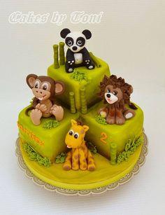 Jungle animals - cake by Cakes by Toni Animal Cakes For Kids, Zoo Animal Cakes, Jungle Theme Cakes, Safari Cakes, Fondant Cakes, Cupcake Cakes, Cupcakes, Zoo Cake, Rodjendanske Torte