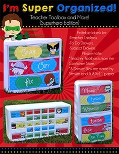 I'm Super Organized! {Superhero Edition - Teacher Toolbox