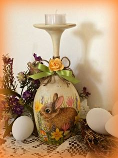 Wine glass candle holderEaster bunny by foreverdecoupage on Etsy