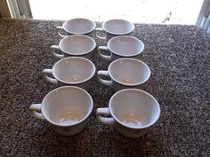 8 Homer Laughlin US Navy Officers Wardroom Mess Cups Blue Bands & Fouled Anchor #HomerLaughlin