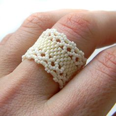 Cream Beaded Ring, Delicate Seed Bead Ring, Band Ring, Dainty ring, Beadwoven…