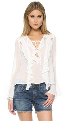 Blusa larga  de mujer color amarillo, blanco de FOR LOVE & LEMONS
