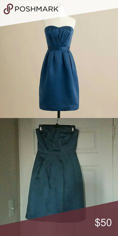 J. Crew Leah Silk Strapless Dress Dragonfly Blue JCrew Leah Silk Strapless Dress Dragonfly Blue - Worn once and dry cleaned. Makes a great bridesmaid dress! J. Crew Dresses Strapless