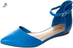 Breckelles Women's Dolley-41 Faux Suede D'Orsay Pointed Toe Flats BLUE 8.5 - Breckelles flats for women (*Amazon Partner-Link)