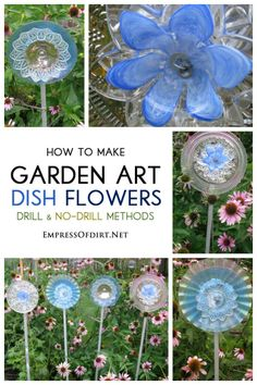 Garden art flowers made from dishes vases etc lots of for Garden art from old dishes