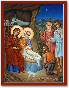 Discover our Adoration of the Shepherds icon, as well as Icons of the Great Feasts and other icons of Christ, today at Monastery Icons. Religious Icons, Religious Art, Monastery Icons, Christmas Icons, Christmas Clipart, Vintage Christmas, Christ The King, Religious Paintings, O Holy Night